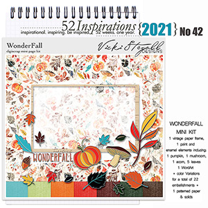 52 Inspirations 2021 No 42 Wonder Fall Scrapbook Kit by Vicki Stegall
