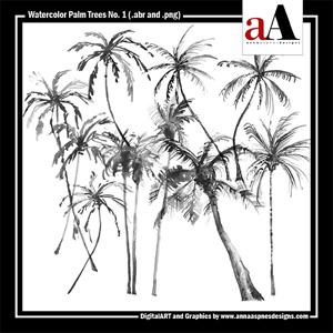 Watercolor Palm Trees No. 1