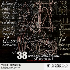Wired - Thankful Word Art & Embellishments
