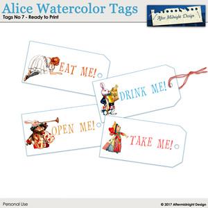 Alice Watercolor Tags No 7
