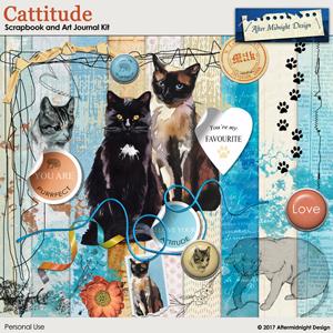Cattitude Scrapbook and Art Journal Kit