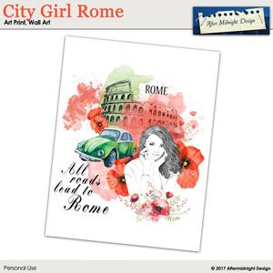 Art Print City Girl Rome