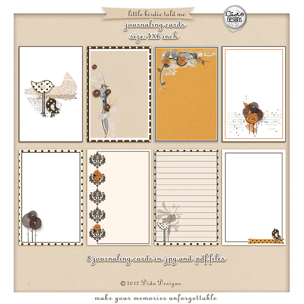 Little Birdie Told Me journaling cards by Dido Designs.
