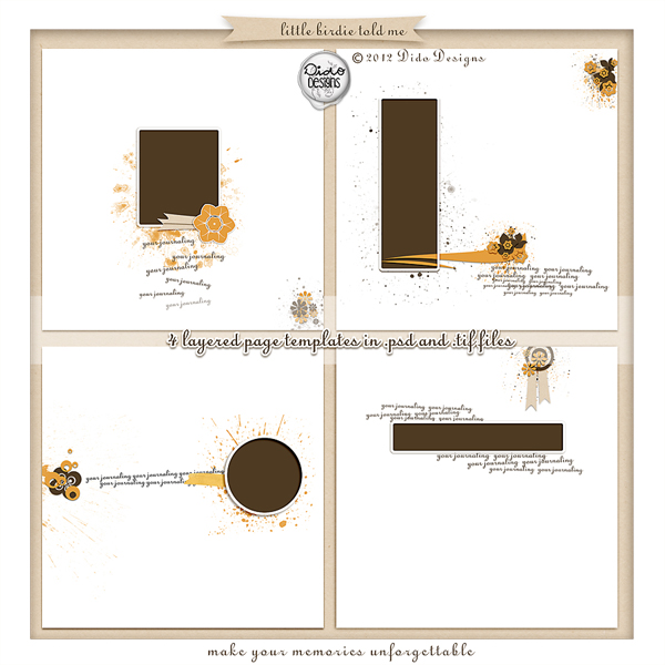 Little Birdie Told Me page templates by Dido Designs.