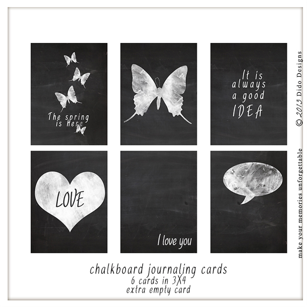 {chalkboard journaling cards} by Dido Designs.