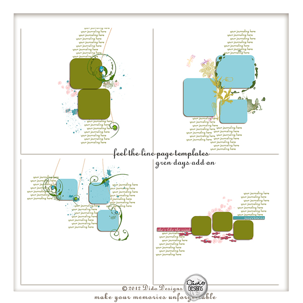 feel the line page templates {green days add on} by Dido Designs.