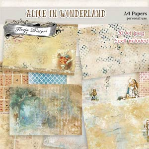 Alice In wonderland Papers A4 PU by Florju Designs