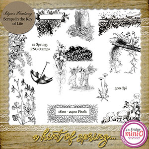 A Hint of Spring - 12 PNG Stamps by Idgie's Heartsong