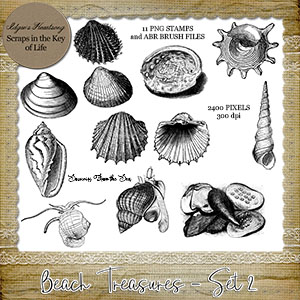 Beach Treasures - Set 2 - 11 CU/PU PNG Stamps and ABR Brushes by Idgie's Heartsong