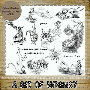 A BIT of WHIMSY - 10 Fairy Tale PNG Stamps and ABR Brush Files by Idgie's Heartsong