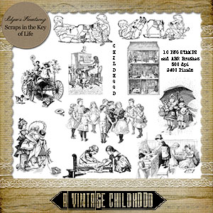 A Vintage Childhood - 10 PNG Stamps and ABR Brushes
