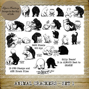 ANIMAL CRACKERS - Set 1 - 15 PNG Stamps and ABR Brushes by Idgie's Heartsong