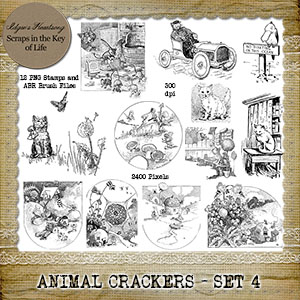 ANIMAL CRACKERS - Set 4 - 12 PNG Stamps and ABR Brushes by Idgie's Heartsong