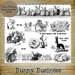BUNNY BUSINESS - 10 PU/CU PNG Stamps and ABR Brushes by Idgie's Heartsong