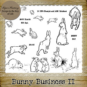 BUNNY BUSINESS II - 10 PU/CU PNG Stamps and ABR Brushes by Idgie's Heartsong