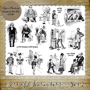 CAST OF CHARACTERS II - 13 PNG Stamps and ABR Brush Files by Idgie's Heartsong