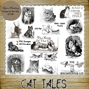 CAT TALES - 15 PNG Stamps and ABR Brush Files by Idgie's Heartsong