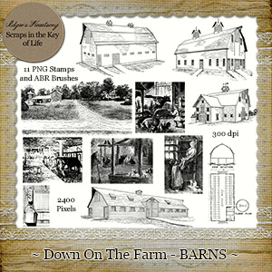 Down On The Farm - BARNS - 11 PNG Stamps and ABR Brush Files
