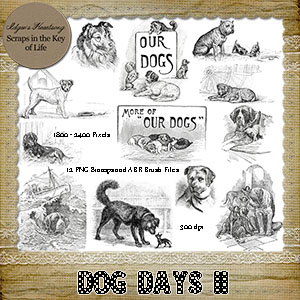 DOG DAYS II - 12 PNG Stamps and ABR Brush Fies by Idgie's Heartsong