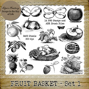 FRUIT BASKET - Set 1 - 14 PNG Stamps and ABR Brush Files by Idgie's Heartsong