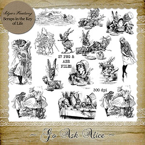 Go Ask Alice - 27 PNG Stamps With ABR Files by Idgie's Heartsong