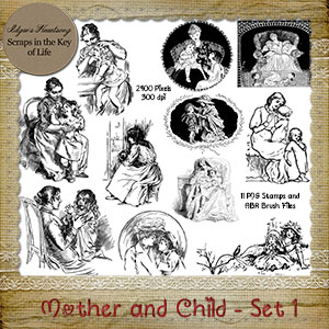 Mother And Child - Set 1 - 11 PNG Stamps and ABR Brushes by Idgie's Heartsong