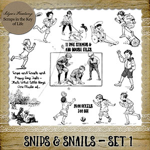 SNIPS & SNAILS - Set 1 - 11 PNG Stamps and ABR Brushes by Idgie's Heartsong