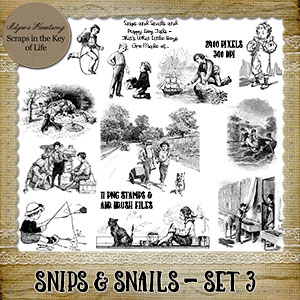 SNIPS & SNAILS - Set 3 - 11 PNG Stamps and ABR Brushes by Idgie's Heartsong