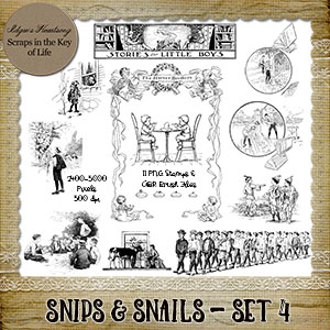 SNIPS & SNAILS - Set 4 - 11 PNG Stamps and ABR Brushes by Idgie's Heartsong