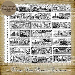 49 Vintage State Banners - PNG Stamps and ABR Brush Collection by Idgie's Heartsong