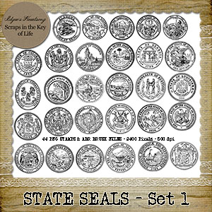 Vintage US STATE SEALS - 44 PNG Stamps and ABR brush Files by Idgie's Heartsong