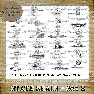 STATE SEALS - Set 2 - 31 PNG Stamps and ABR Brush Files by Idgie's Heartsong