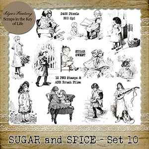 Sugar and Spice - Set 9 - 12 PNG Stamps and ABR Brush Files by Idgie's Heartsong