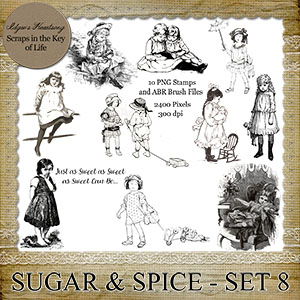 Sugar and Spice - Set 8 - 10 PNG Stamps and ABR Brush Files by Idgie's Heartsong