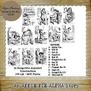 An APPLE PIE Alpha Story - 12 PNG Stamps and ABR Brush Files by Idgie's Heartsong
