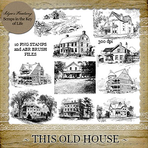 This Old House - Set 2 - 10 PNG Stamps and ABR Brushes by Idgie's Heartsong