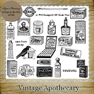 Vintage Apothecary - 21 PNG Stamps and ABR Brushes by Idgie's Heartsong