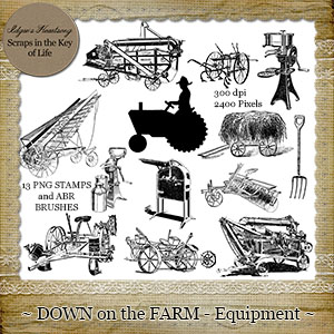 Down On The Farm - EQUIPMENT - 13 PNG Stamps and ABR Brush Files by Idgie's Heartsong