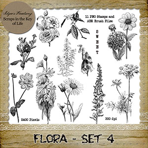 FLORA - Set 4 - 11 PNG Stamps and ABR Brush Files by Idgie's Heartsong