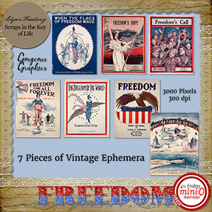 FREEDOM - 7 Pieces of Vintage Ephemera - Set 1 by Idgie's Heartsong