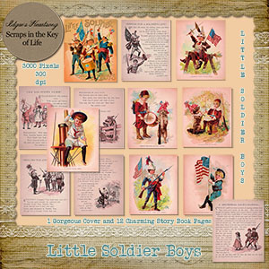 Little Soldier Boys - Cover and 12 Story Book Pages by Idgie's Heartsong