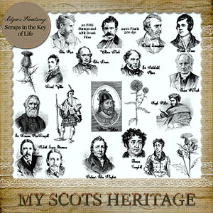 MY SCOTS HERITAGE ADD ON - 20 PNG Stamps and ABR Brush Files by Idgie's Heartsong