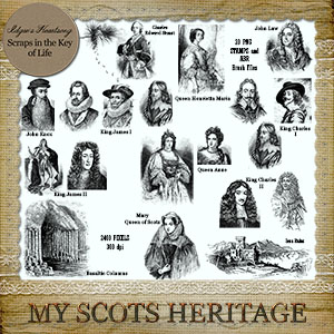 MY SCOTS HERITAGE - ADD ON - 20 More PNG Stamps and ABR Brush Files by Idgie's Heartsong