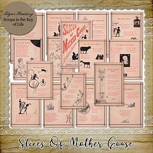Slices Of Mother Goose - 16 PNG 1877 Nursery Rhyme Pages by Idgie's Heartsong