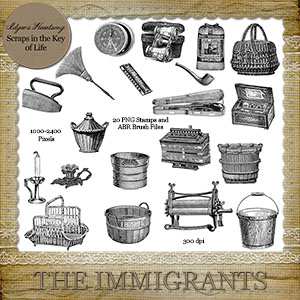 The Immigrants ADD ON - 20 PNG Stamps and ABR Brush Files by Idgie's Heartsong