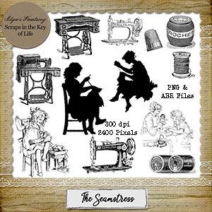 The Seamstress - Stamps - Set 2 - 12 PNG Stamps & ABR Brushes by Idgie's Heartsong