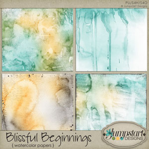 Blissful Beginnings { Watercolor Papers } by Jumpstart Designs