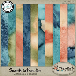 Sunsets in Paradise { Watercolored Papers } by Jumpstart Designs