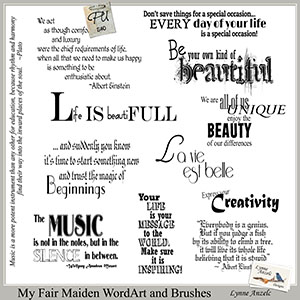 My Fair Maiden WordArt and Brushes