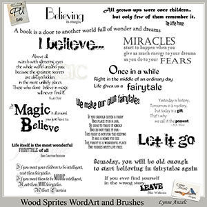 Wood Sprites Word Art and Brushes